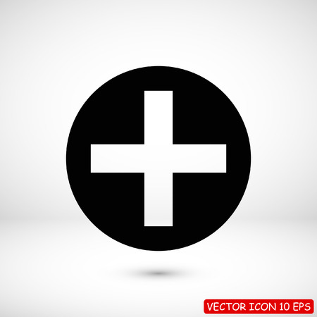 medical cross icon, stock vector illustration flat design style Standard-Bild - 107884708