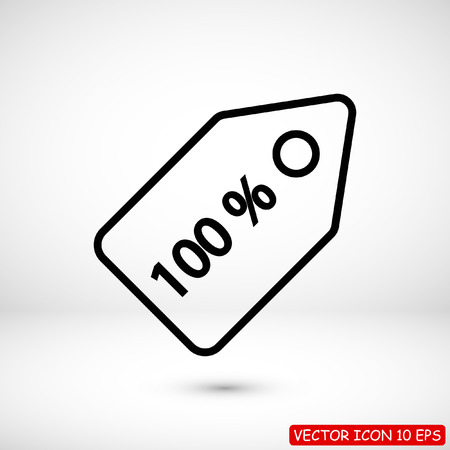 100% tag icon, stock vector illustration flat design style