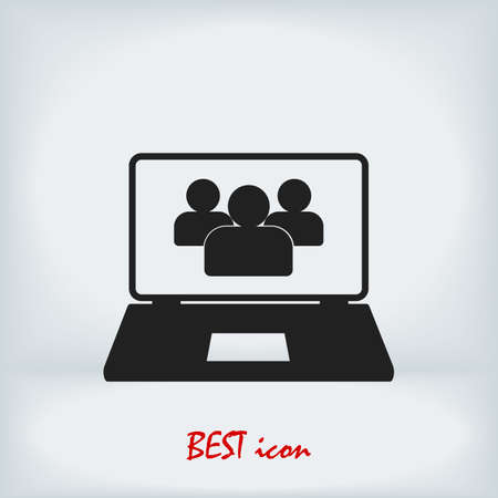 laptop icon, stock illustration flat design style