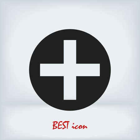 medical cross icon, stock illustration flat design style