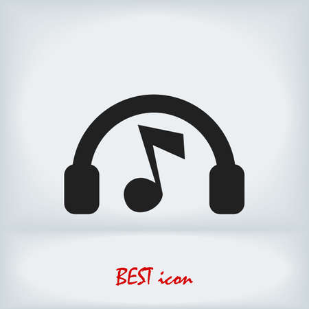 headphones icon, stock illustration flat design style Иллюстрация