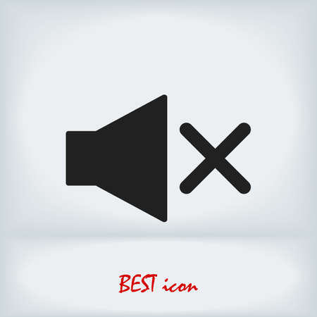 Mute sound icon, stock illustration flat design style