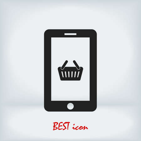 mobile smartphone icon, stock illustration flat design style