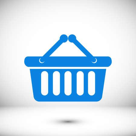 Shopping basket icon, stock vector illustration flat design style