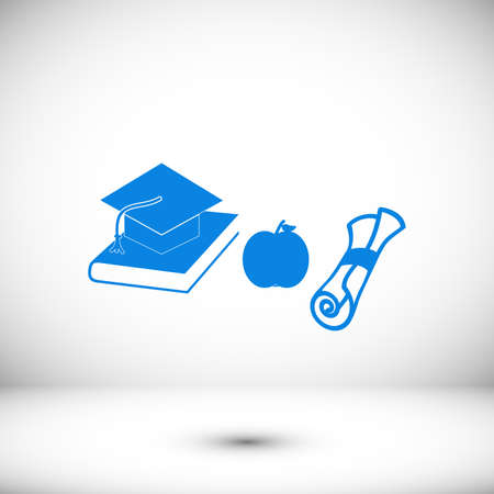Mortar Boards, books, apple and Diploma icon, stock vector illustration flat design style