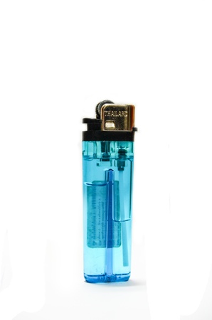 The blue lighter on isolated white background Stock Photo - 21699064