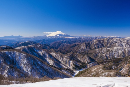 Mount Fuji and snowy mountains photo