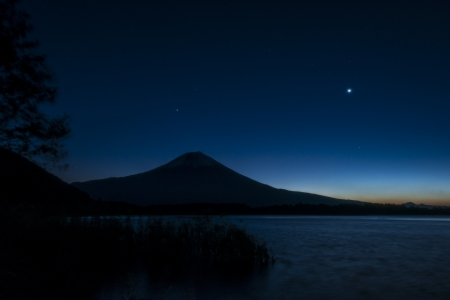 Predawn and silhouette of Mount Fuji photo