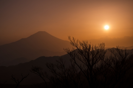 Silhouette of Mount Fuji photo