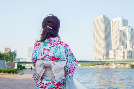 Japanese girl wearing Yukata Stock Photo