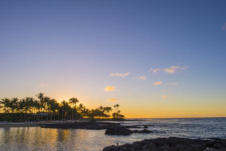 hawaian beach at sunset time Stock Photo