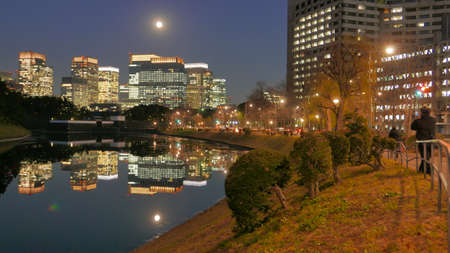 Buildings illuminated in the Imperial Palace of the pond, Tokyo, Japan.