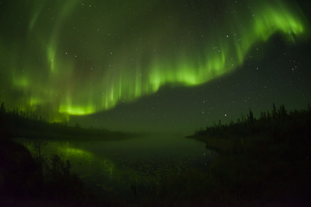 Northern lights aurora borealis in the night sky photo