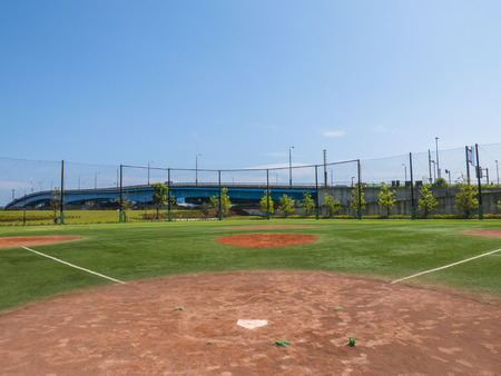 sports field: View of a Baseball Field Stock Photo