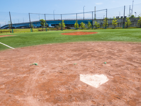 infield: View of a Baseball Field Stock Photo
