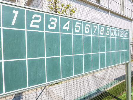 infield: Scoreboard of a Baseball game
