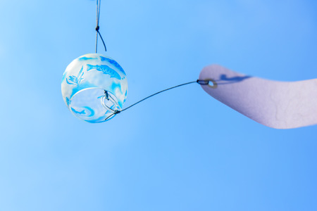 chime: Japanese wind chime against blue sky
