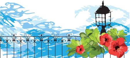 eden: Marine. Blumen, Bl�tter, Laterne und Zaun gegen das Meer.