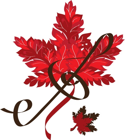 treble clef on the background of a red leaf Vector