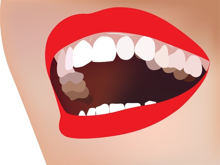 beautiful smile. White teeth and red lips. Stock Vector - 11124281