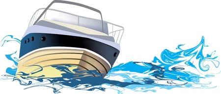 bateau: Navire en mer, en bateau sur la rivi�re Illustration
