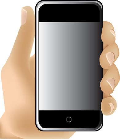 hands off: Mano que sostiene el tel�fono m�vil. Ilustraci�n vectorial. Editorial