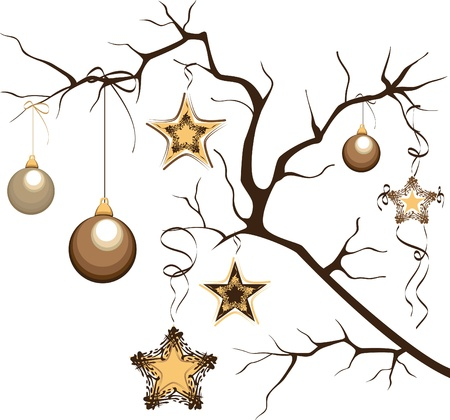 Christmas composition. Branch with balloons and stars. Vector