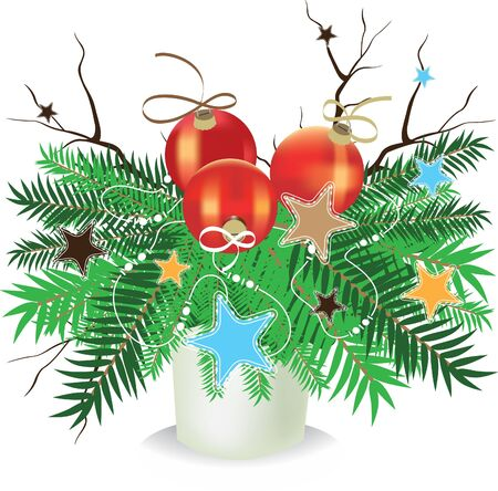 Christmas composition. Spruce branches with balls, stars, ribbons and bare branches. Vector
