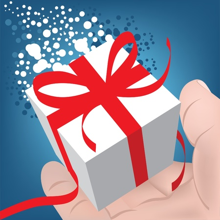 For you! Gift Box in a mans hand. Christmas gift. Vector