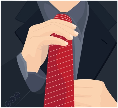 job interview: Businessman in a suit straightens his tie.