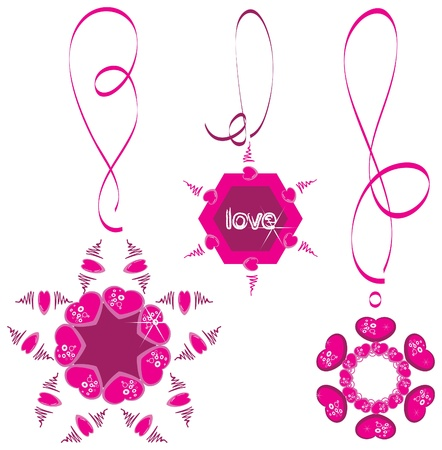 Heart Necklace, decoration on the tapes Vector
