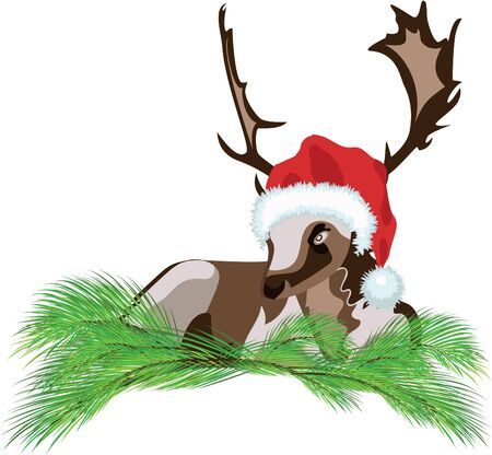 Deer wearing a Santa Claus hat over white background Vector