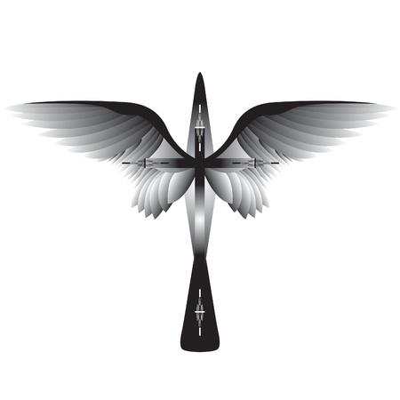 tatouage ange: Croix avec des ailes.
