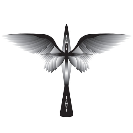 Cross with Wings.  Vector