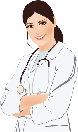a physician: Beautiful young doctor with stethoscope illustration
