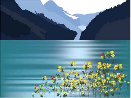 mountains and sea Vector