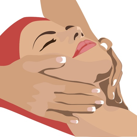 close up face: Hands massaging female face, at the spa - Beautiful woman relaxing, with a head massage at the beauty spa