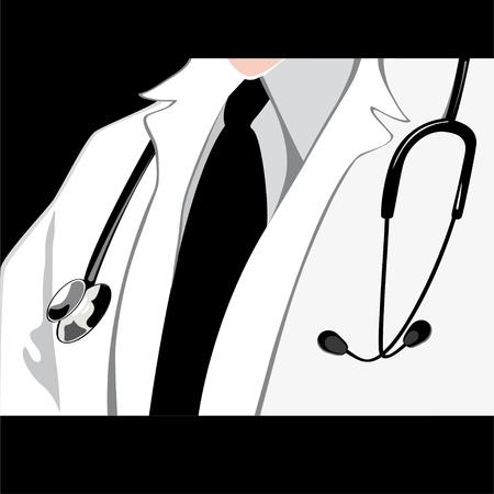 Médico con el estetoscopio. Ilustración de vector