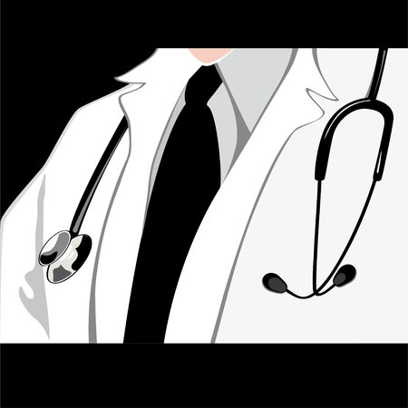 nurse uniform: Medical doctor with stethoscope.