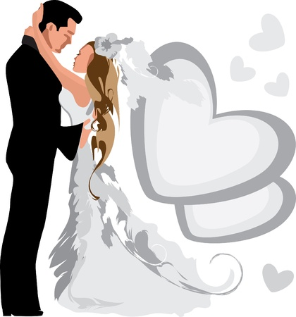Wedding. Marriage. Bride and groom. Vector