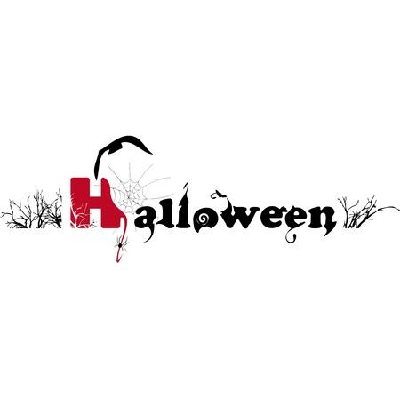 boom halloween: Halloween tekst op een witte achtergrond. Stock Illustratie