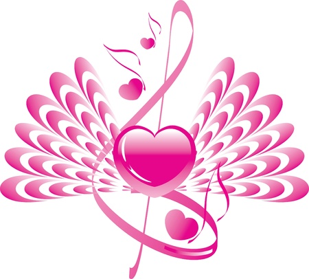 heart with wings, note and treble clef Ilustração