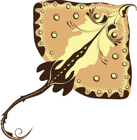 fish tail: cramp-fish, stylized Electric ray.