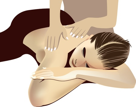 spa resort: woman receiving back massage at spa