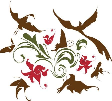 crane bird: flowers and  bird background, decorative composition