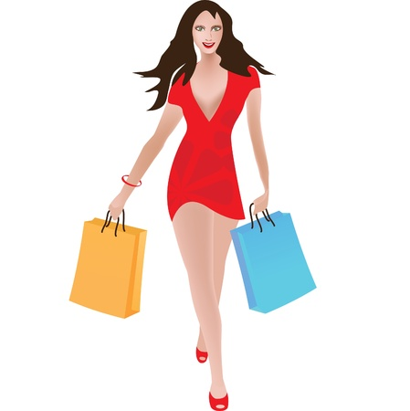 Girl with shopping bags Stock Vector - 11784810