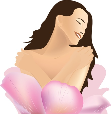 lady s: Girl and Flower. Spa.  Illustration