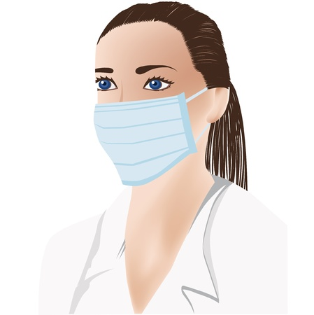 laboratorian: female doctor with medical mask on face