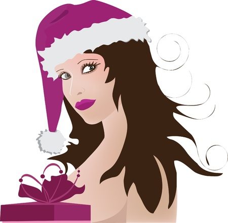 Girl wearing santa claus clothes. Vector