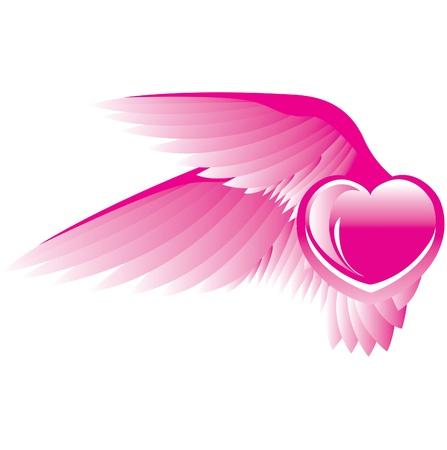 corazon con alas: Coraz�n con alas Vectores